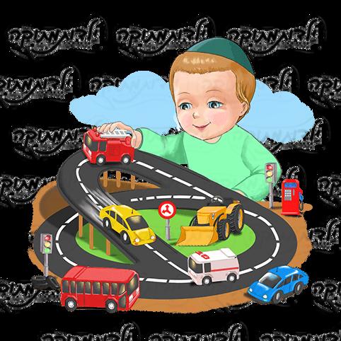 מדבקת קיר לעיצוב פינת משחק ומכוניות בגן בנים