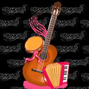 מדבקת קיר - פינת מוסיקה